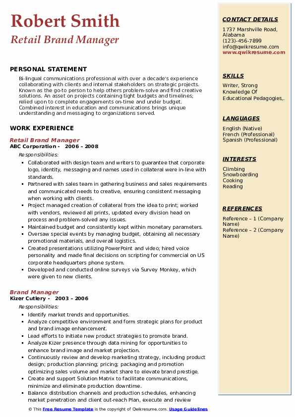 Retail Brand Manager Resume Sample