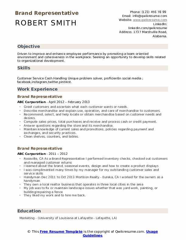 Brand Representative Resume Sample