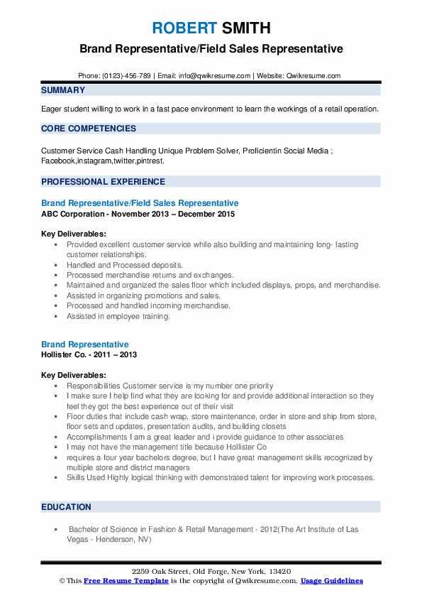 Brand Representative/Field Sales Representative Resume Model