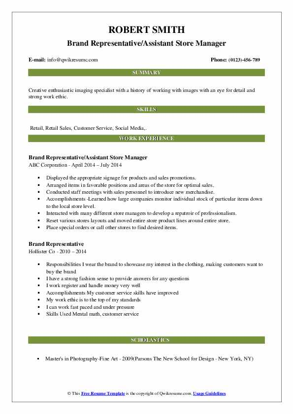 Brand Representative/Assistant Store Manager Resume Example