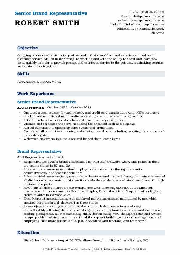 Senior Brand Representative Resume Sample