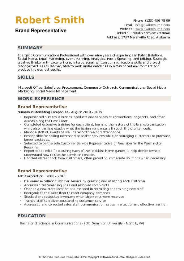 Brand Representative Resume example