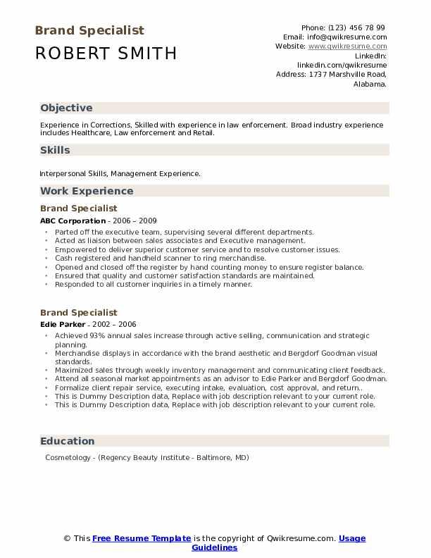 Brand Specialist Resume example