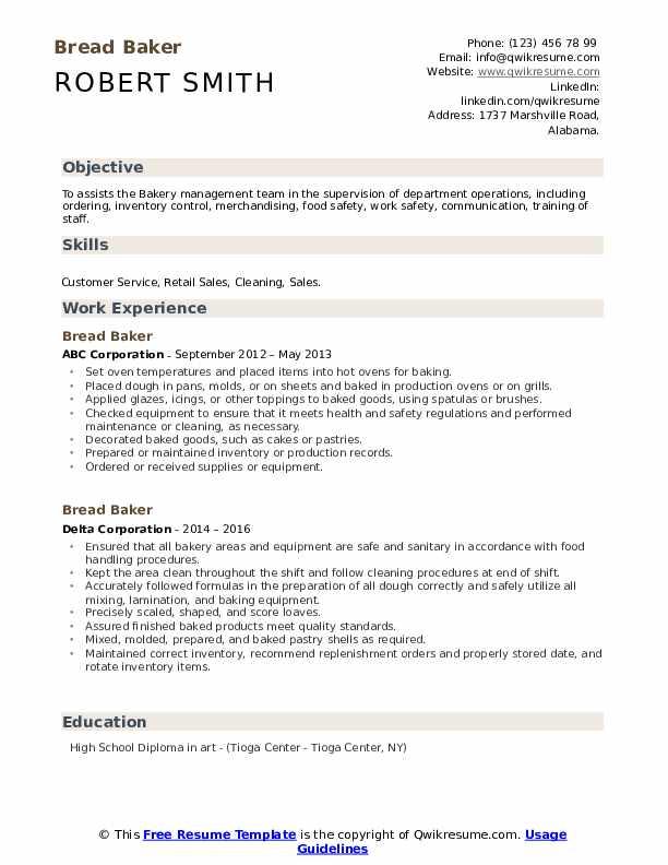 bread baker resume samples  qwikresume