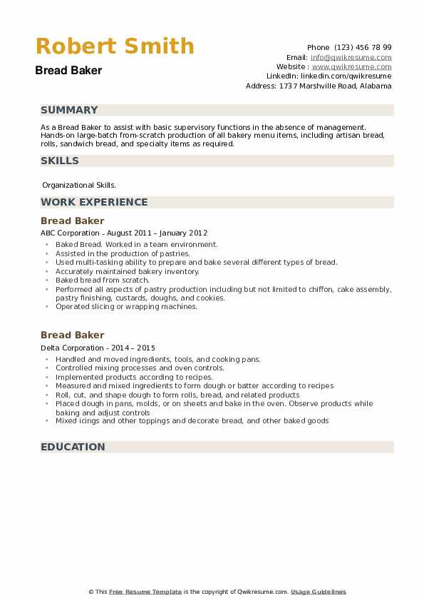 Bread Baker Resume example