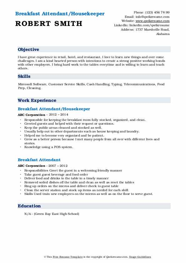 Breakfast Attendant/Housekeeper Resume Template