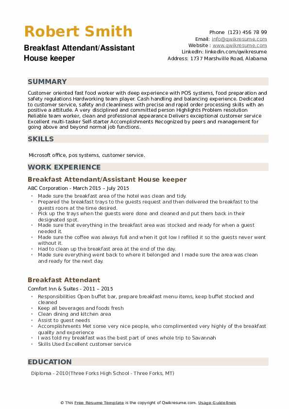 Breakfast Attendant/Assistant House keeper Resume Model