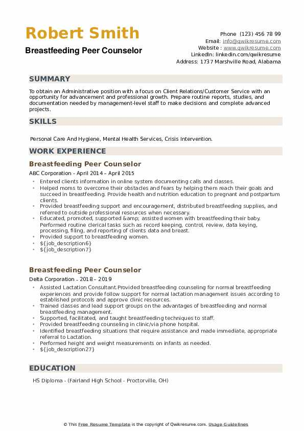 Breastfeeding Peer Counselor Resume example