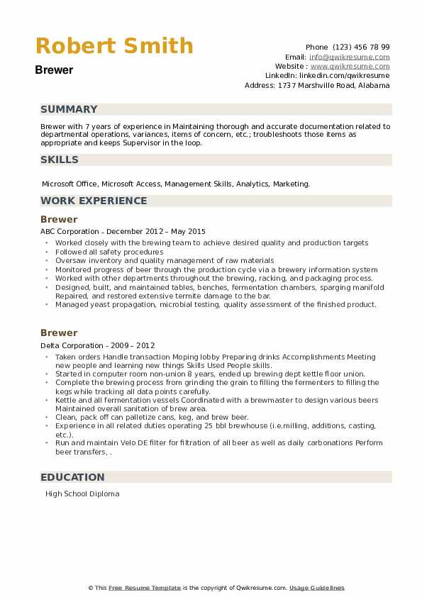 Brewer Resume example