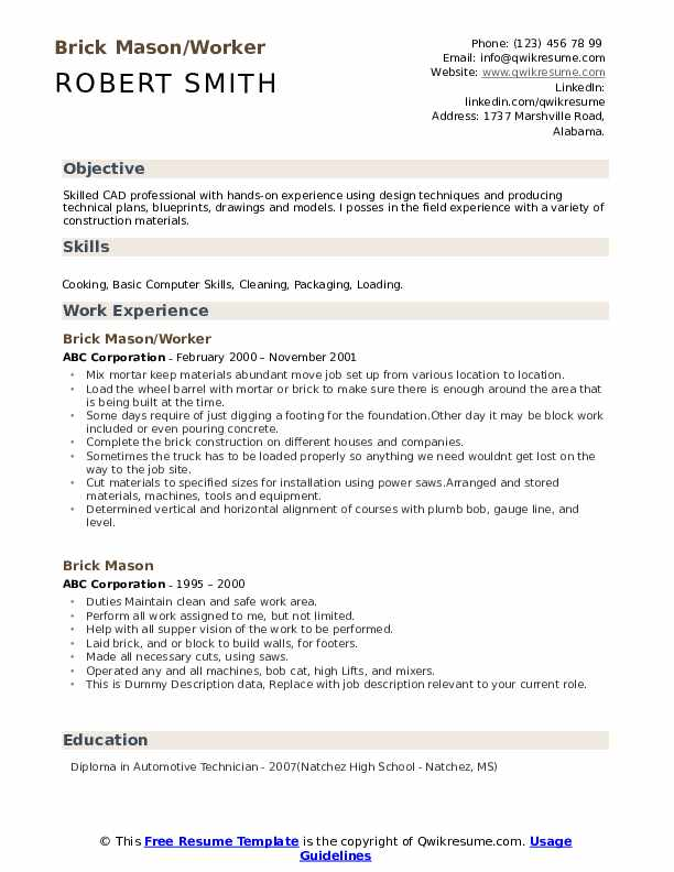 Brick Mason/Worker Resume Format
