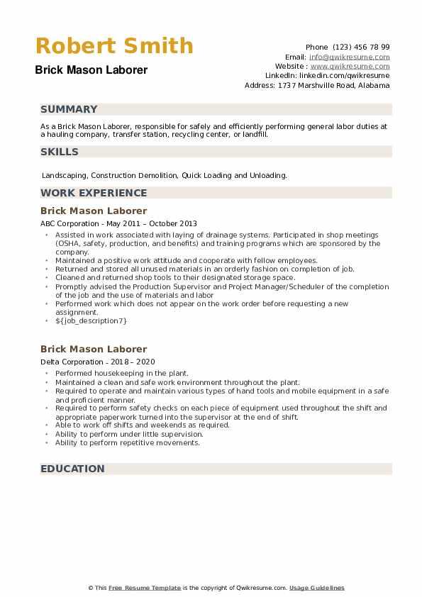 Brick Mason Laborer Resume example