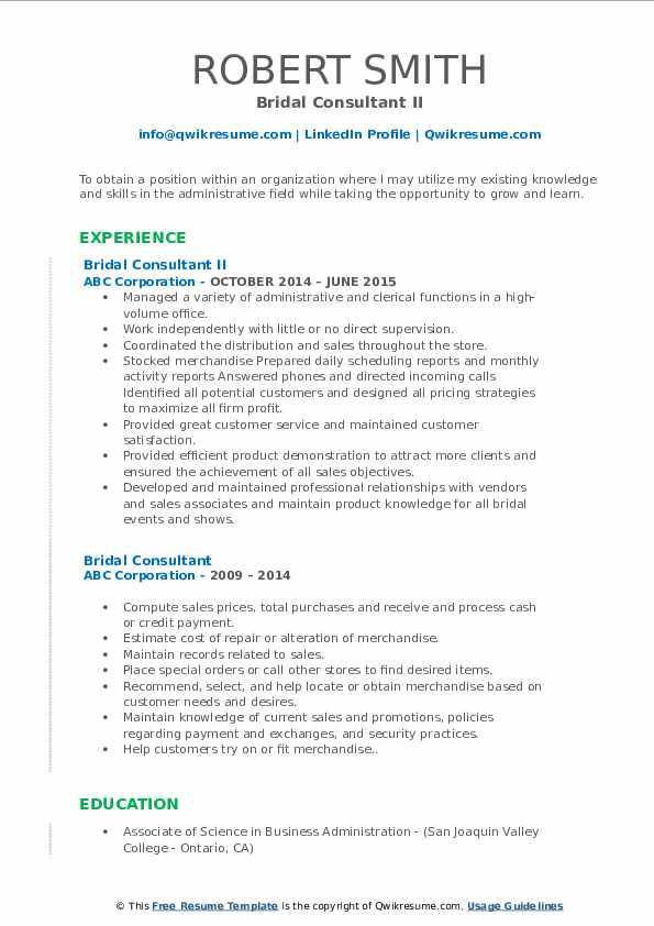 Bridal Consultant II Resume Example