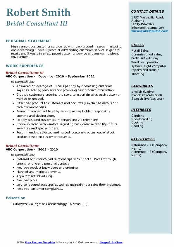 Bridal Consultant III Resume Sample