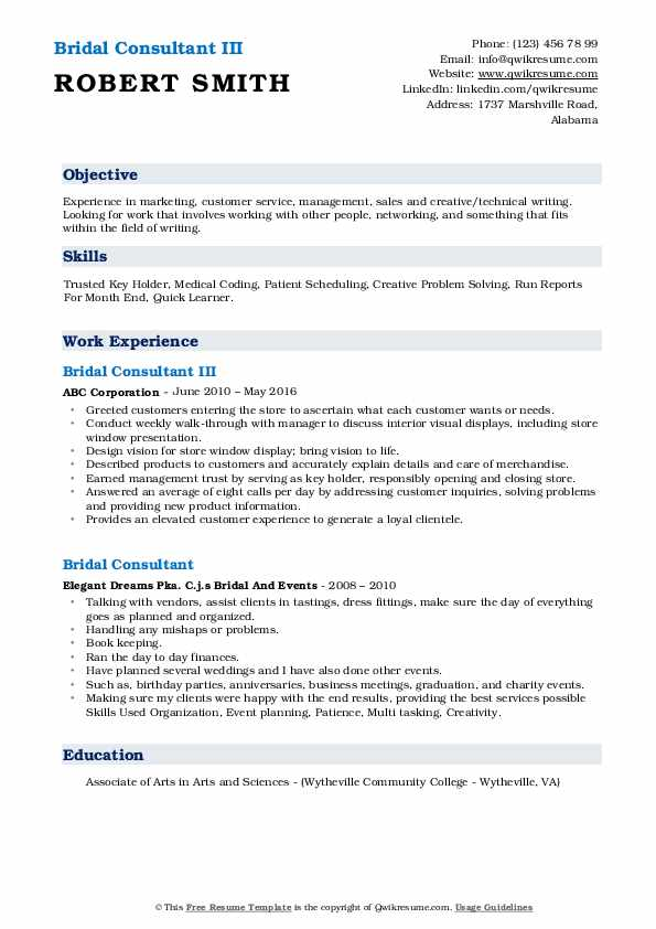 Bridal Consultant III Resume Example