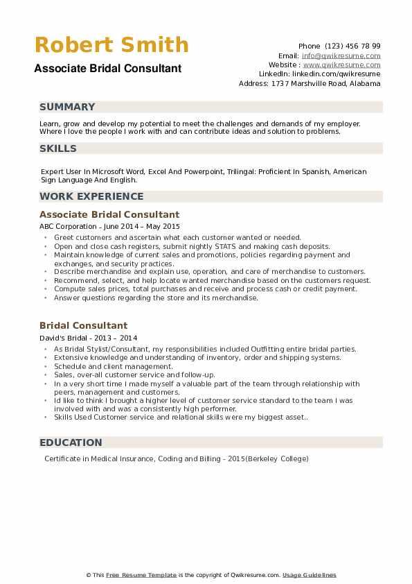 Associate Bridal Consultant Resume Example