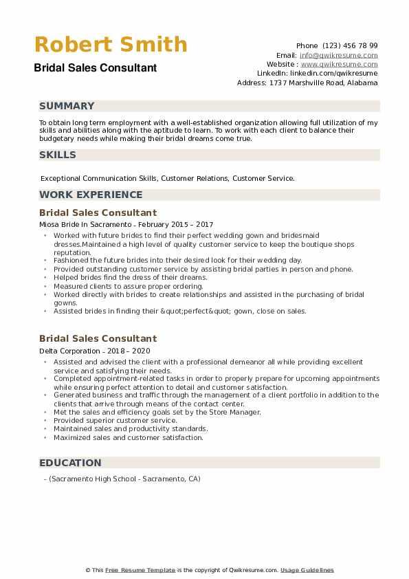Bridal Sales Consultant Resume example