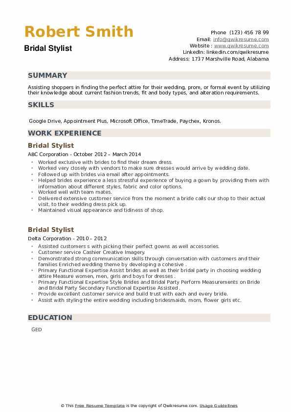 Bridal Stylist Resume example