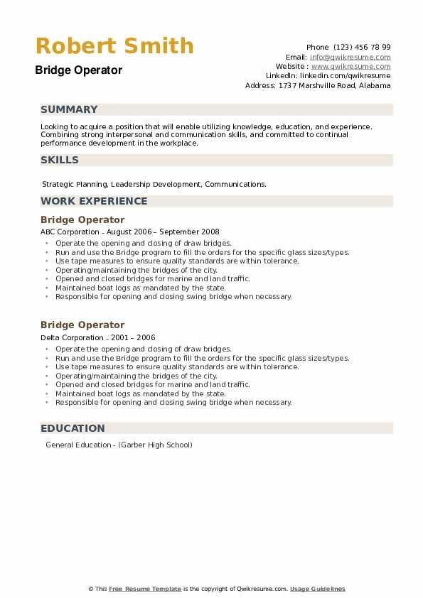 Bridge Operator Resume example