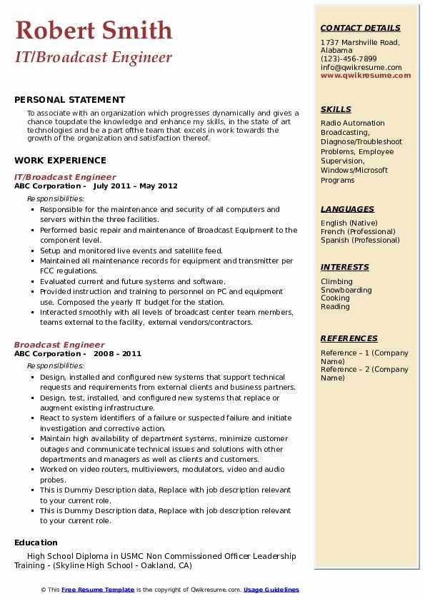 broadcast engineer resume samples