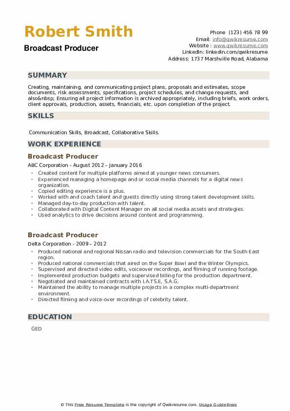 Broadcast Producer Resume example