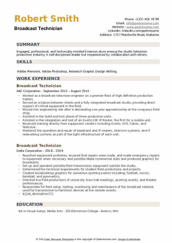 Broadcast Technician Resume example