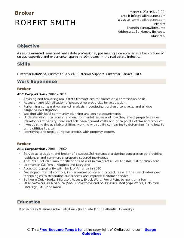 Broker Resume Template
