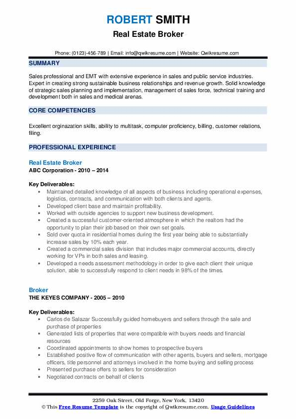 Real Estate Broker Resume Sample