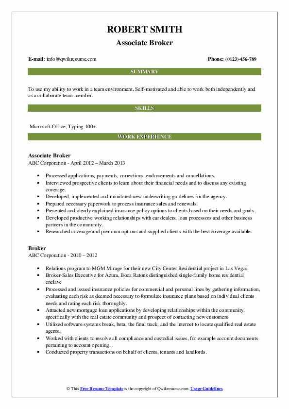 Associate Broker Resume Example