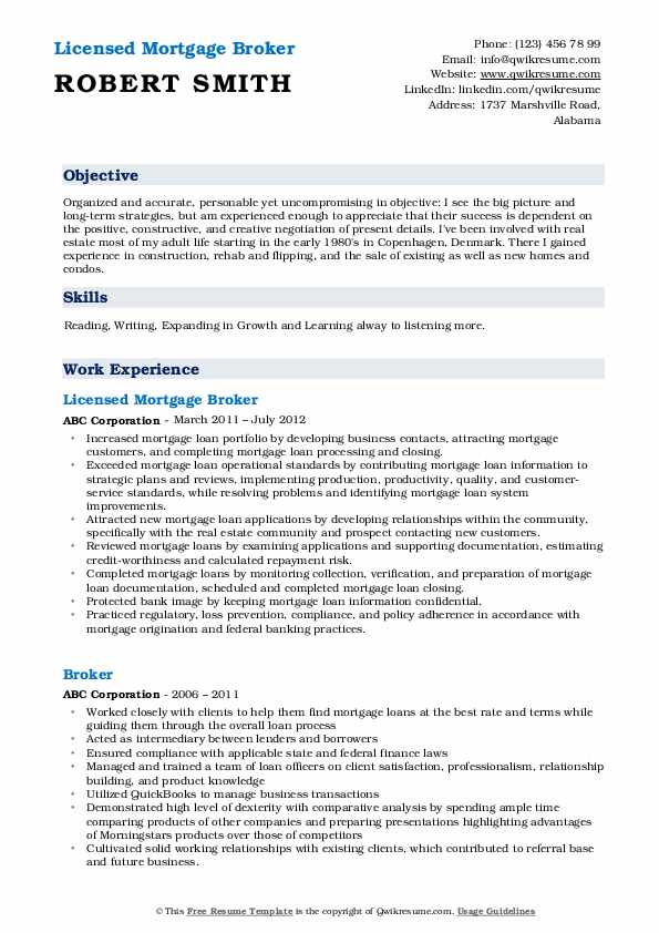 Licensed Mortgage Broker Resume Model
