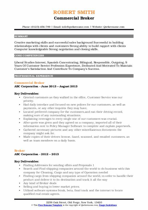 Commercial Broker Resume Sample