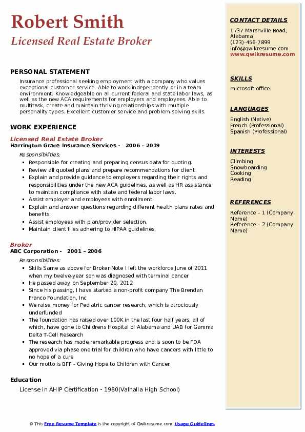 Licensed Real Estate Broker Resume Sample