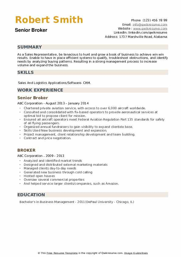 Senior Broker Resume Template