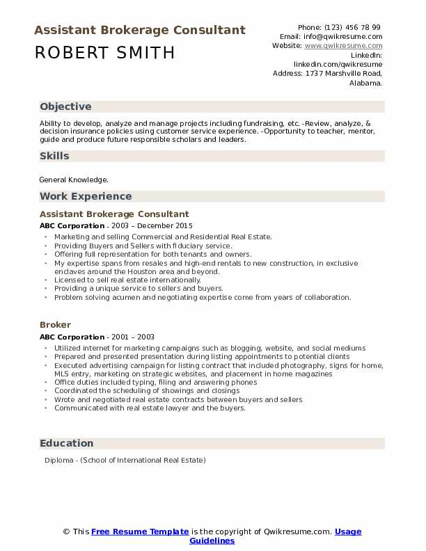 Assistant Brokerage Consultant Resume Sample