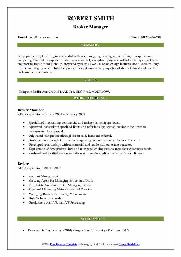 Broker Manager Resume Template