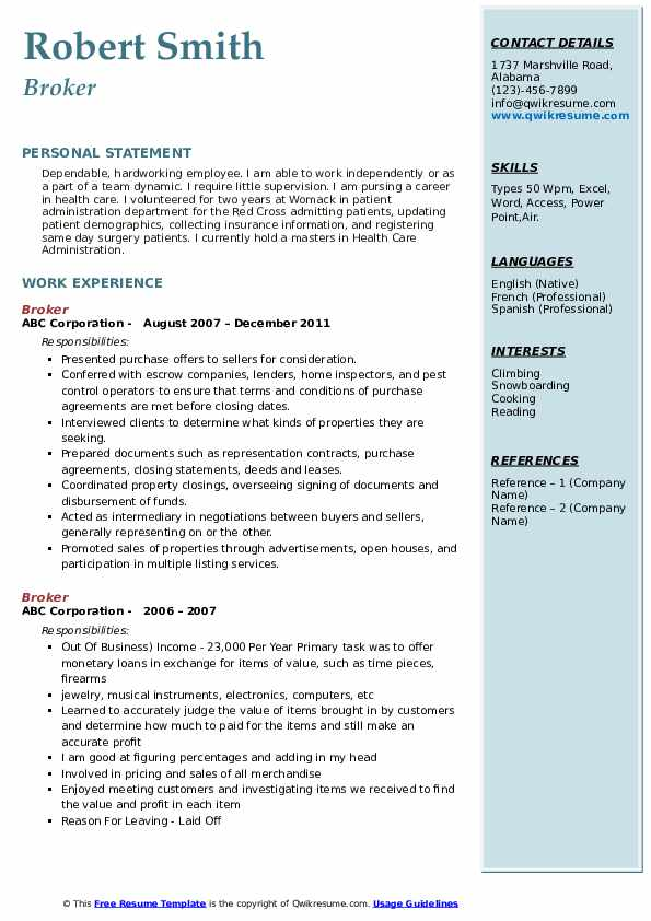 Broker Resume example
