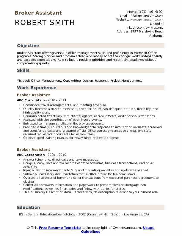 Broker Assistant Resume example