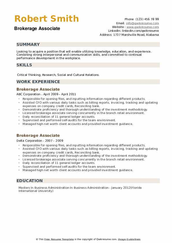 Brokerage Associate Resume example