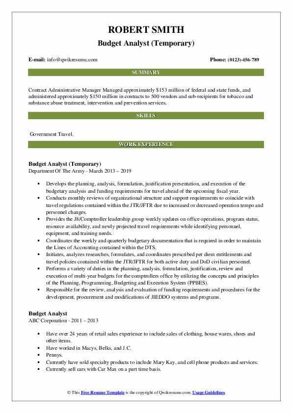 Budget Analyst (Temporary) Resume Template