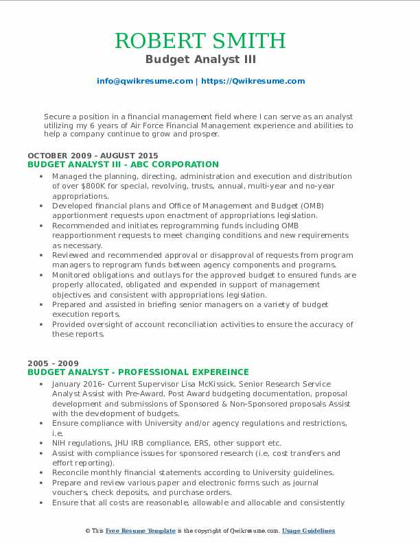 Budget Analyst III Resume Format