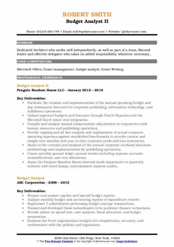 Budget Analyst II Resume Example