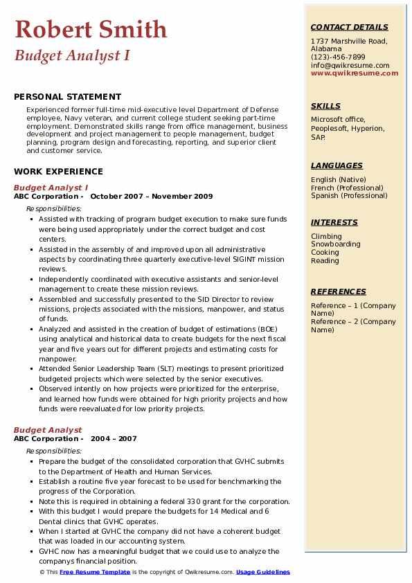 Budget Analyst I Resume Example
