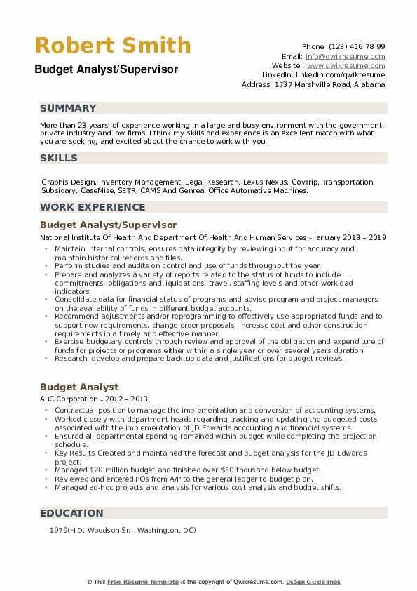 Budget Analyst/Supervisor Resume Model