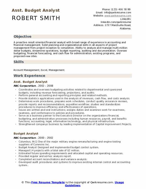 Asst. Budget Analyst Resume Sample