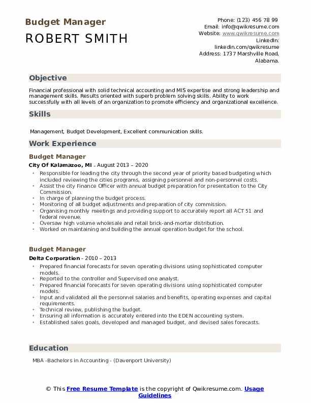 budget manager resume samples