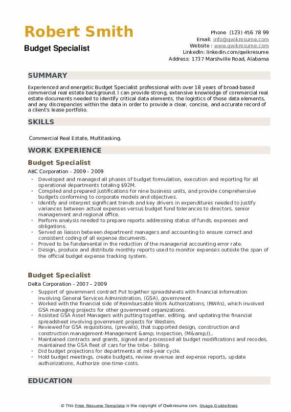 Budget Specialist Resume example