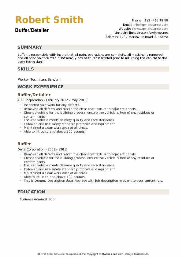 Buffer Resume example
