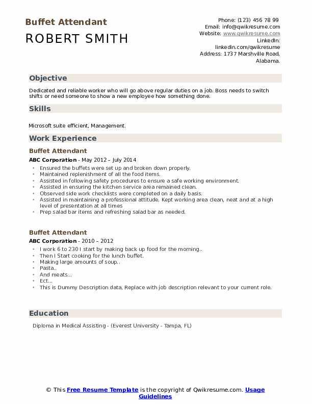 Buffet Attendant Resume example