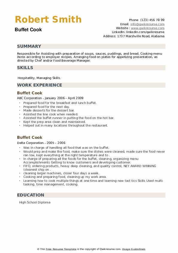 Buffet Cook Resume example