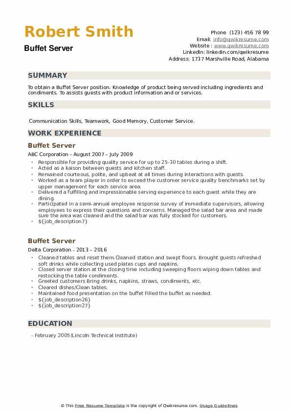 Buffet Server Resume example