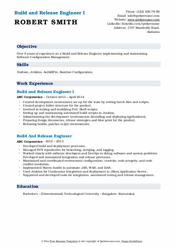 Build And Release Engineer Resume Samples Qwikresume